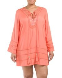 Tj Maxx - Pink Plus Lace Up Neck Cover-up - Lyst