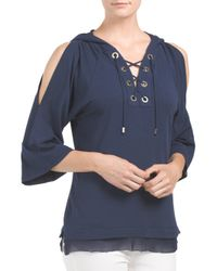 Tj Maxx - Blue Lace Up Hoodie Tunic - Lyst