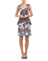 Tj Maxx - Multicolor Made In Usa Floral Sunset Peplum Dress - Lyst