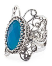 Tj Maxx - Blue Handcrafted In Turkey Sterling Silver Stone Butterfly Ring - Lyst