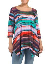 Tj Maxx - Multicolor Plus Scoop Neck Handkerchief Hem Top - Lyst