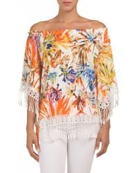 Tj Maxx - Multicolor Tropical Printed Fringe Trim Top - Lyst