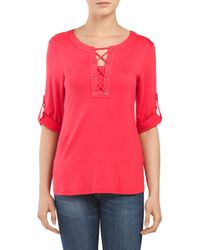 Tj Maxx - Red Split Neck Lace Up Top - Lyst