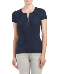 Tj Maxx - Blue Ribbed Zip Front Sweater - Lyst