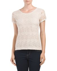 Tj Maxx - Natural Lace Front Back Zip Top - Lyst