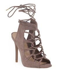 Tj Maxx - Brown Lace Up Peep Toe Heel - Lyst