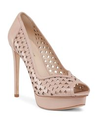 Tj Maxx - Natural Peep Toe Perforated Platform Heel - Lyst