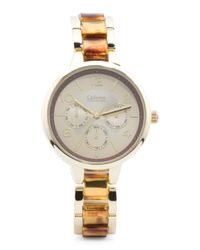 Tj Maxx - Metallic Women's Tortoise And Gold-tone Bracelet Watch - Lyst