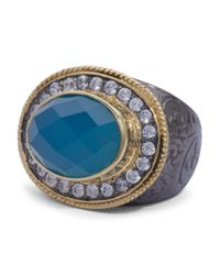 Tj Maxx - Two Tone Sterling Silver Blue Chalcedony And Cubic Zirconia East West Ring - Lyst