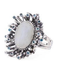 Tj Maxx - Metallic Made In India Sterling Silver Gemstone And Cubic Zirconia Burst Ring - Lyst