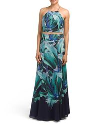 Tj Maxx - Blue Floral Halter Gown With High Slit - Lyst