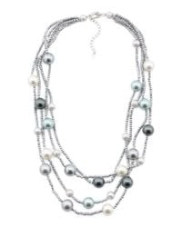 Tj Maxx - Metallic Sterling Silver Multicolor Pearl And Hematite Necklace - Lyst