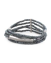 Tj Maxx - Metallic Silver Plated Hematite Cubic Zirconia Stretch 5 Row Bracelet - Lyst