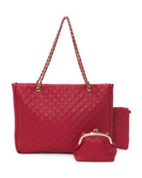 Tj Maxx - Red 3pc Quilted Tote Set - Lyst