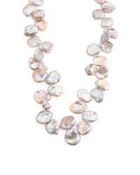 Tj Maxx Metallic Sterling Silver Lavender Keshi Pearl Necklace