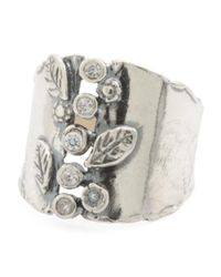 Tj Maxx - Metallic Made In Israel Sterling Silver Cz Floral Ring - Lyst