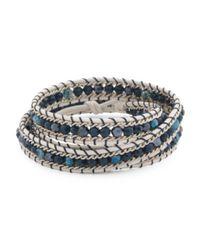 Tj Maxx - Blue Handmade In Thailand Czech Crystal Leather Wrap Bracelet - Lyst