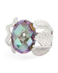 Tj Maxx - Metallic Rhodium Plated Sterling Silver Mystic Cubic Zirconia Leaf Shank Ring - Lyst