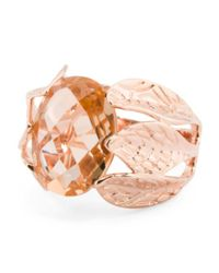 Tj Maxx - Pink 14k Rose Gold Plated Sterling Silver Morganite Leaf Shank Ring - Lyst