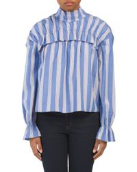 Tj Maxx - Blue Striped Ruffle Front Top - Lyst