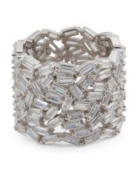 Tj Maxx - Metallic Sterling Silver Cz Baguette Free Form Ring - Lyst