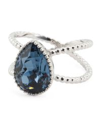 Tj Maxx - Blue Sterling Silver Swarovski Crystal Teardrop Double Shaft Ring - Lyst