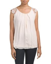 Tj Maxx - White Made In Italy Silk Dots Top - Lyst