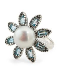 Tj Maxx - Made In Israel Sterling Silver Pearl And Blue Topaz Ring - Lyst