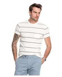Todd Snyder - White Wide Stripe Classic Button Pocket Tee In Ecru for Men - Lyst