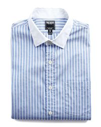 Todd Snyder | Blue Spread Collar Shirt In White Collar for Men | Lyst