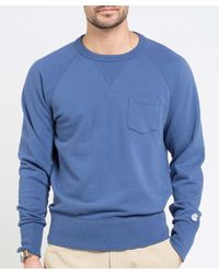 Todd Snyder - Classic Pocket Sweatshirt In Washed Blue for Men - Lyst
