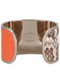 Tod's - Multicolor Cuff In Metal And Python - Lyst