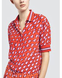 Tomas Maier - Red Silk Patch Top - Lyst