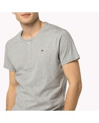 Tommy Hilfiger - Gray Cotton Icon Henley for Men - Lyst