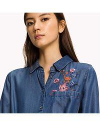 Tommy Hilfiger - Blue Tencel Shirt Dress - Lyst