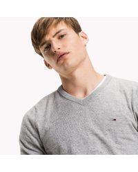 Tommy Hilfiger - Gray Cotton V-neck Jumper for Men - Lyst