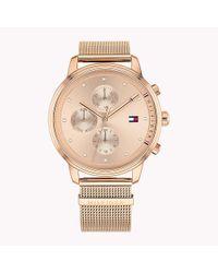 Tommy Hilfiger Metallic Rose Gold-plated Shark Mesh Watch