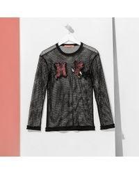Tommy Hilfiger - Black Tommy Applique Mesh T-shirt - Lyst