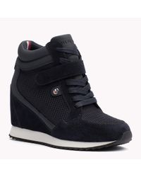 Tommy Hilfiger | Blue Suede Mix Sneaker Wedges | Lyst