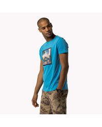 Tommy Hilfiger | Blue Cotton Jersey Printed Crew Neck T-shirt for Men | Lyst