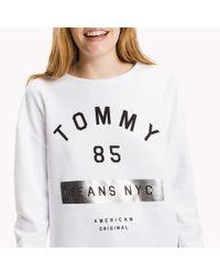 Tommy Hilfiger - White Fleece Logo Sweatshirt - Lyst