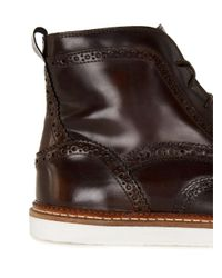 Topman - House Of Hounds Brown Leather Lace Brogue Boots for Men - Lyst