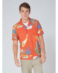 Topman | Red Orange Ocean Print Hawaiian Shirt for Men | Lyst