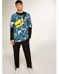 Topman - Black Punk Royal Blue Graffiti Printed T-shirt for Men - Lyst