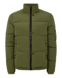 Topman - Green Puffer Jacket for Men - Lyst