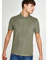 Topman - Green Towelling Polo for Men - Lyst