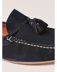 Topman - Blue Navy Suede 'stone' Tassel Loafer for Men - Lyst