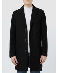 TOPMAN - Black Wool Rich Overcoat for Men - Lyst