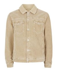 TOPMAN | Brown Stone Faux Shearling Collar Corduroy Jacket for Men | Lyst