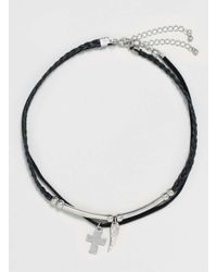 TOPMAN - Black Cross And Wing Choker* for Men - Lyst